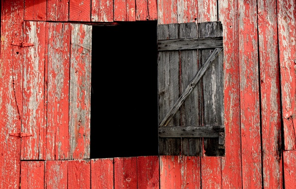 Picture red, Board, window, the barn