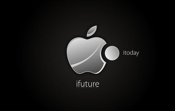 Picture future, Apple, minimalism, The dark background, creativity