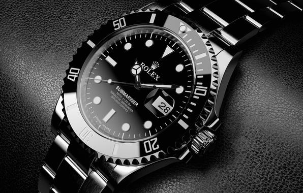 Wallpaper Silver, Black, Watch, Elegant, Black Leather -1141