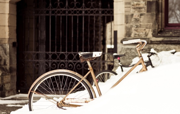 Picture winter, snow, bike, the city, the building, gate