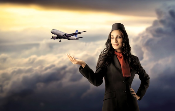 Picture girl, clouds, flight, the plane, stewardess