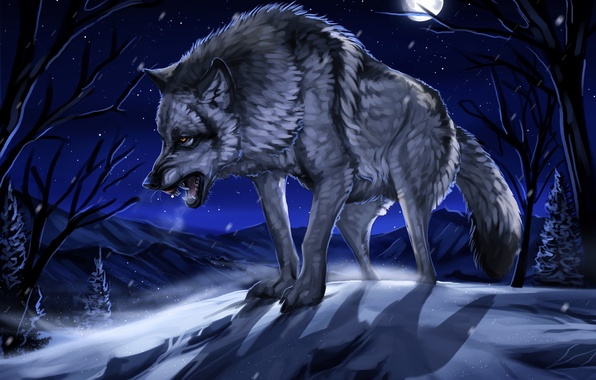 Picture winter, forest, snow, night, the moon, figure, wolf, art, grin