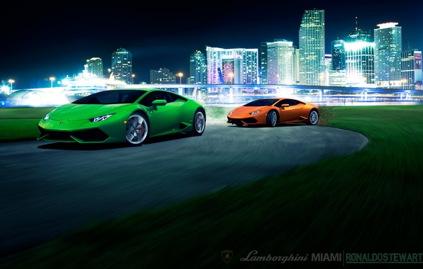 Picture bridge, city, the city, green, speed, Lamborghini, turn, front, orange, other, LP 610-4, Huracan, LB724