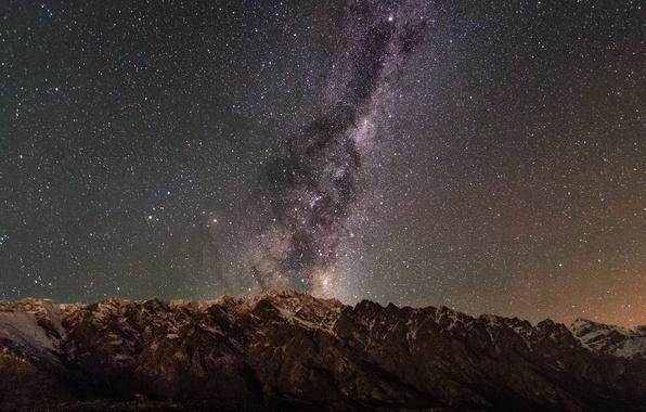 Picture space, stars, mountains, silhouette, The Milky Way, infinity mystery