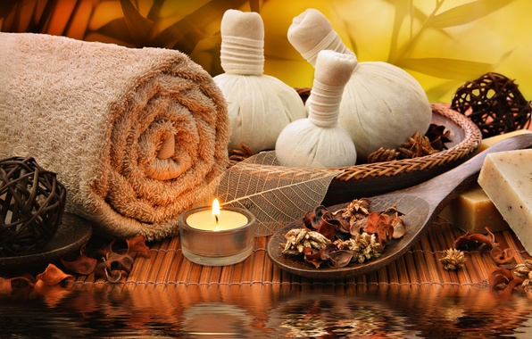 Picture relax, bath, Spa, candle, spa, salt, towel