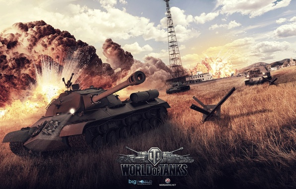 Picture explosions, art, tanks, WoT, World of Tanks, KV-1, Alexander Malkin, Is-3