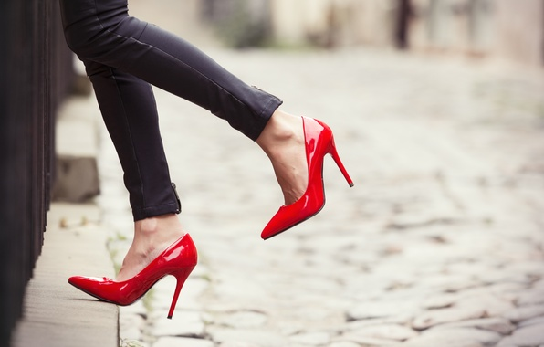 Picture red, woman, jeans, heels