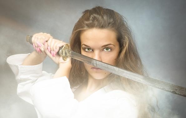 Photo wallpaper woman, look, katana, sword, warrior