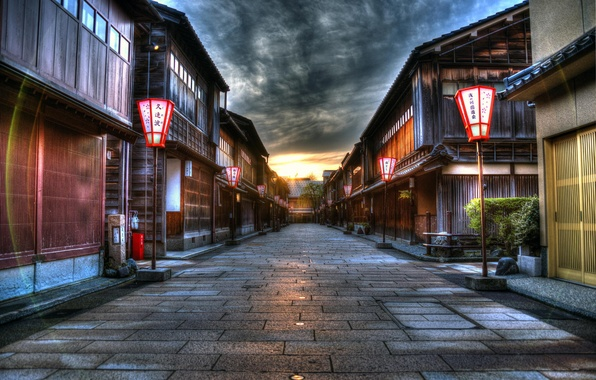 Picture sunset, the city, street, HDR, home, Japan, lights
