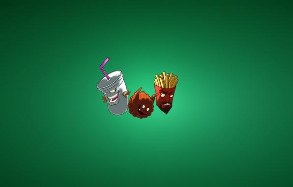 Picture minimalism, Aqua Teen Hunger Force, Meatball, Frylock, fries, Meatwad, ATHF, Master Shake, milkshake