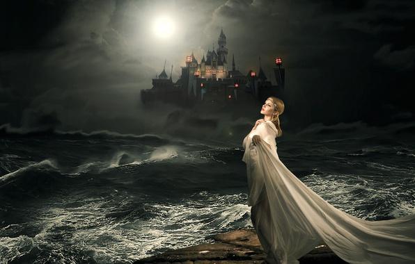 Picture sea, girl, night, castle, tale