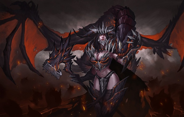 Picture look, fiction, dragon, wings, art, demoness