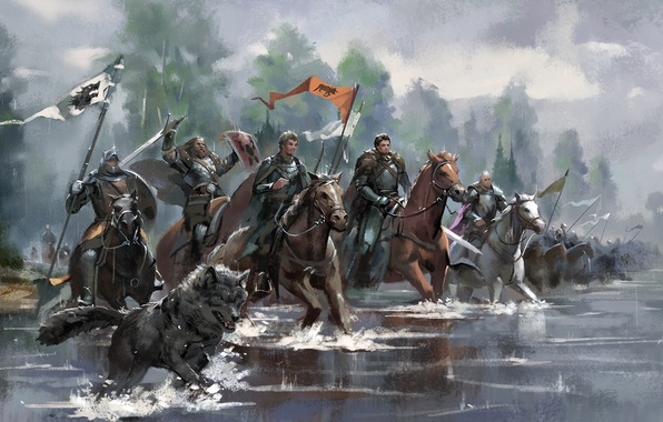 Picture river, horses, army, dog, knight, king, banner
