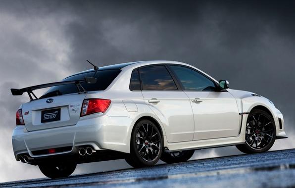 Picture white, tuning, spoiler, sedan, subaru, rear view, wrx, impreza, tuning, Subaru, sti, Impreza, wing, nbr …