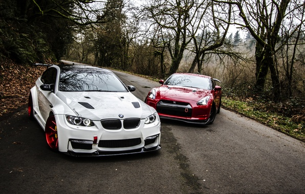 Picture Red, Road, Autumn, White, BMW, Tuning, BMW, Nissan, GTR, Nissan, E92, R35