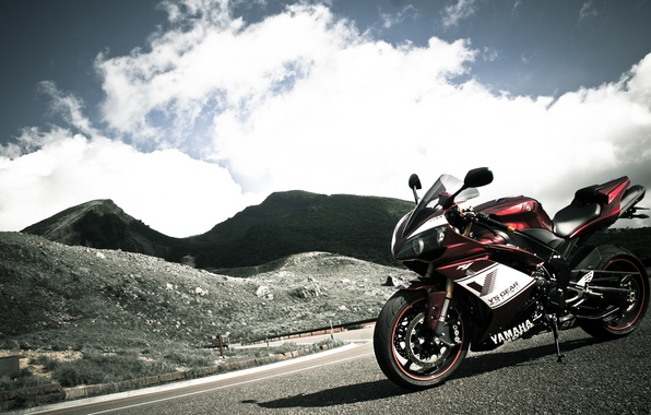Picture the sky, mountains, red, motorcycle, red, yamaha, bike, Yamaha, yzf-r1