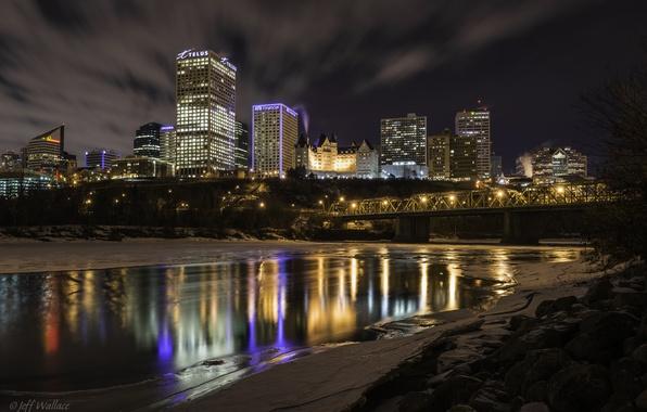 Wallpaper Night The City Reflection River Canada Canada