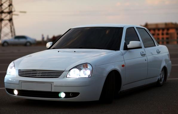 Picture machine, auto, lights, white, Lada, VAZ, prior, priora