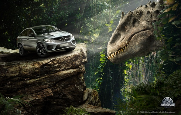 Picture auto, forest, rock, fiction, dinosaur, the situation, jungle, Jurassic world, Jurassic World, Mercedes-Benz GLE Coupe