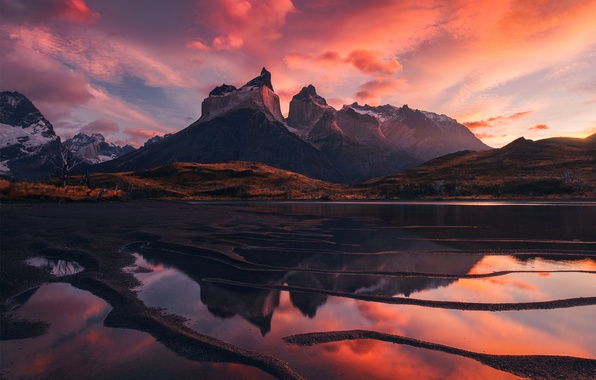 Picture Red, Clouds, Sky, Landscape, Mountains, Patagonia, Lake