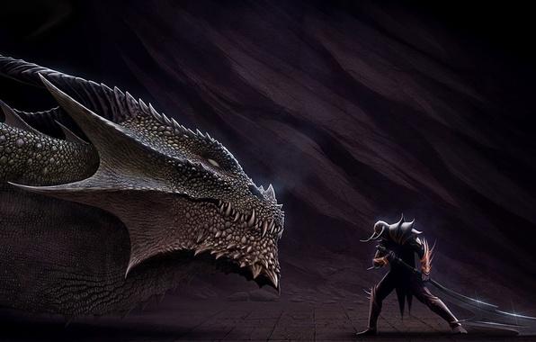 Picture dragon, sword, head, warrior, art, lizard, horns, helmet, male