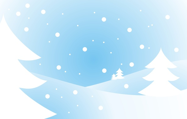 Picture white, snow, blue, tree