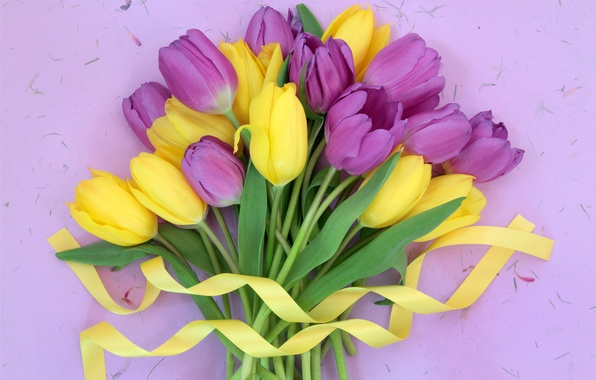 Picture flowers, bouquet, tape, tulips, fresh, yellow, flowers, tulips, purple