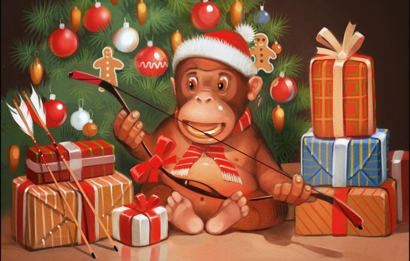 Picture mood, holiday, gift, tree, new year, Christmas, bow, monkey, arrows, 2016