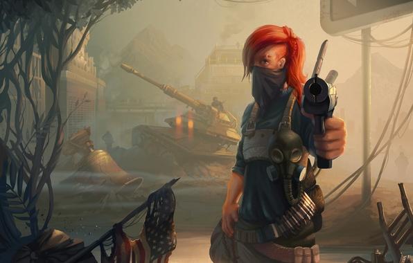 Picture girl, gun, art, tank, red, Homefront: The Revolution
