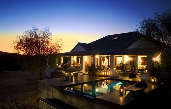Picture mood, stay, Villa, the evening, candles, pool