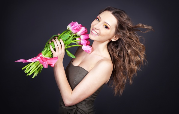 Picture girl, joy, flowers, smile, background, mood, bouquet, makeup, dress, hairstyle, tulips, brown hair, ribbon