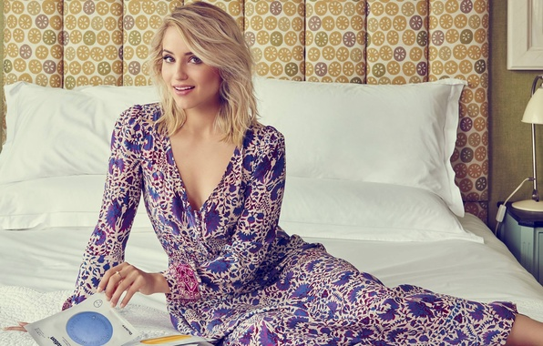 Picture look, pose, bed, pillow, makeup, dress, actress, hairstyle, blonde, photographer, bed, beauty, Dianna Agron, Dianna …