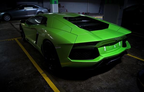 Picture green, green, Parking, lamborghini, back, aventador, lp700-4, Lamborghini, aventador