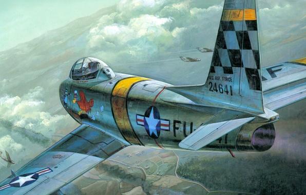 Picture figure, art, North American, Sabre, F-86, American fighter jet
