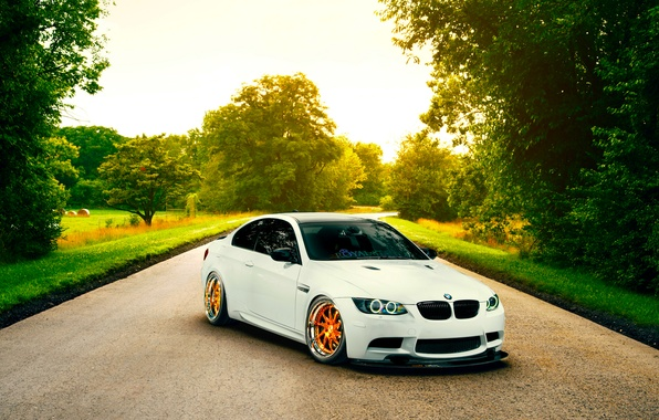 Picture BMW, Orange, White, E92, Road, Low, Wheels, Stancenation