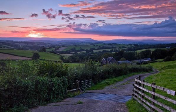 Picture road, landscape, sunset, bridge