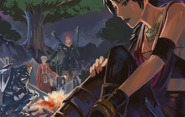 Picture forest, tree, figure, the fire, dragon age, Morrigan, origins, camp, Liliana, Alistair