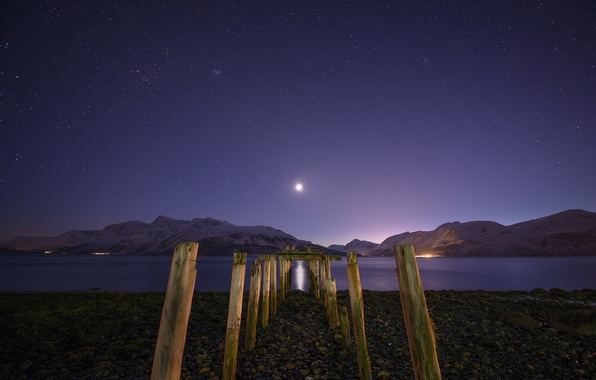 Picture stars, snow, mountains, night, lake, the moon, support, moonlight