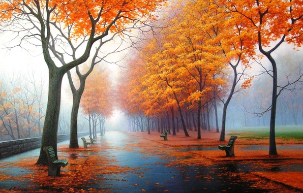 Picture autumn, nature, Park, figure, picture, art, drawings, pictures
