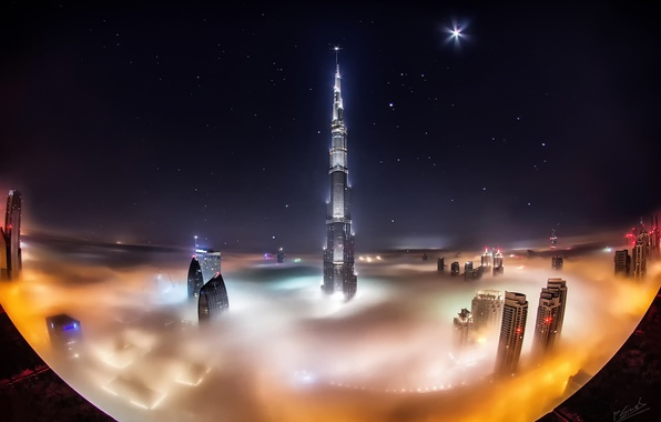 Picture stars, clouds, night, the city, fog, Dubai, Dubai, skyscrapers, UAE, Burj Khalifa