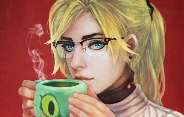 Picture girl, art, glasses, jacket, Medic, sweater, Overwatch, Mercy, Angela Ziegler
