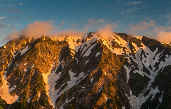 Picture the sky, clouds, mountains, Japan, turquoise, Nagano Prefecture, The Japanese Alps