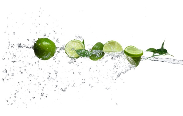 Picture water, drops, squirt, lime, citrus, slices