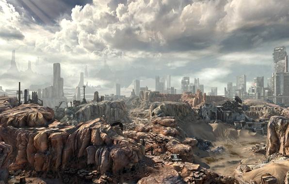 Picture the sky, clouds, fiction, rocks, Apocalypse, desert, panorama, dump, ruins, rage