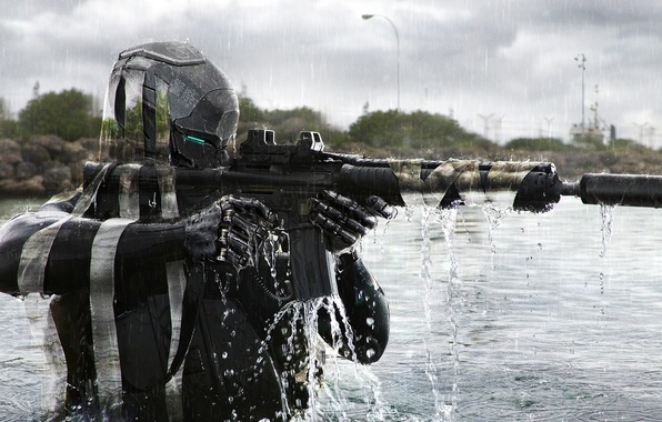 Picture water, river, fiction, soldiers, machine, helmet, camouflage, phantom