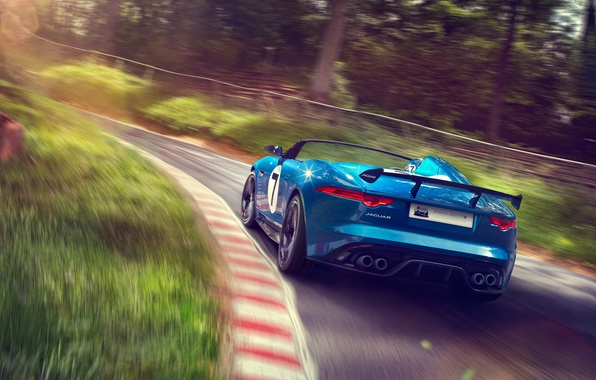 Picture car, Concept, Jaguar, supercar, road, auto, blue, speed, Project 7