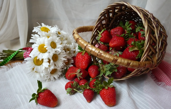 Picture berries, basket, chamomile, strawberry