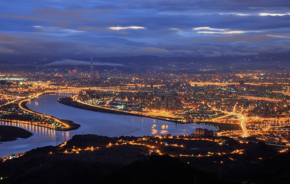 Picture the sky, night, clouds, the city, lights, fog, Strait, view, height, lighting, panorama, China, Taiwan, …