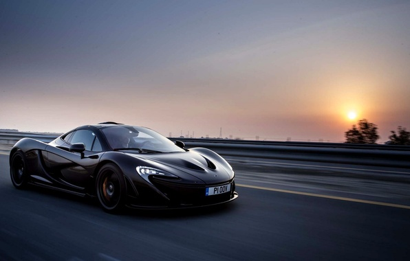 Picture McLaren, Sunset, Road, Black, Speed, McLaren, Car, Speed, Black, Supercar, Evening, Road, Supercar, 2014