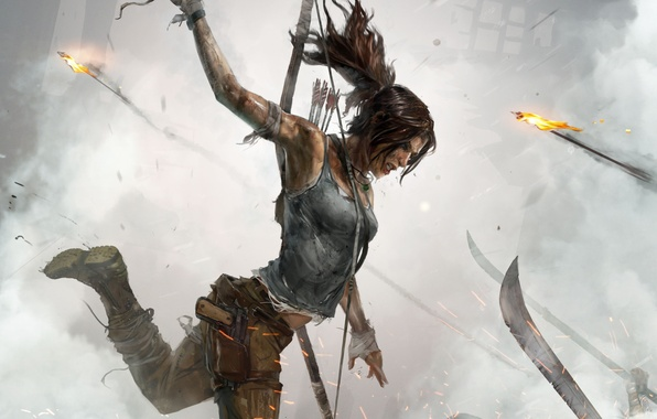 Picture girl, gun, weapons, fire, blood, hair, smoke, figure, blade, shoes, battle, bow, blow, Tomb Raider, …